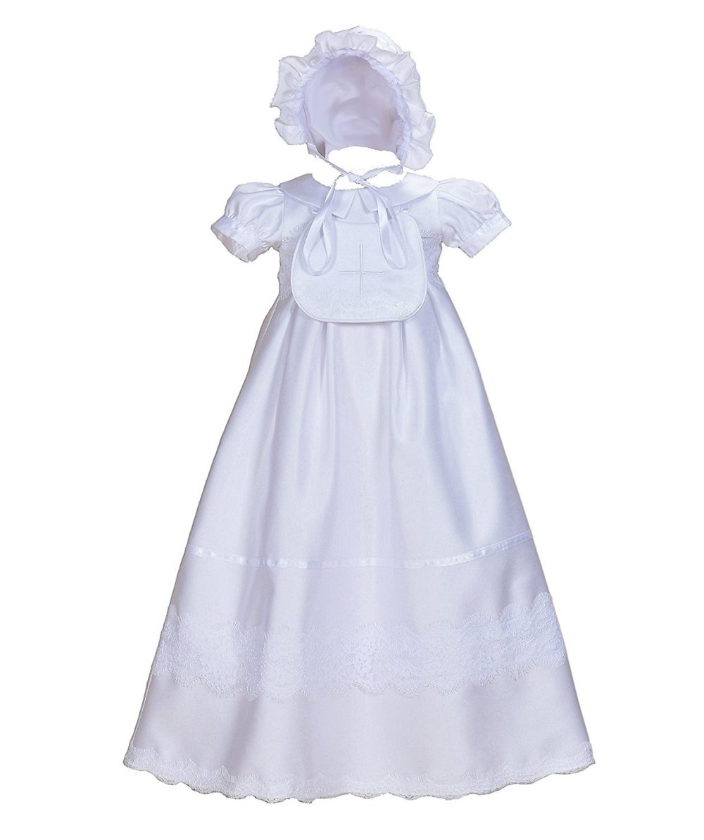 Cinda Baby Girls Satin Christening Gown with Bib and Bonnet