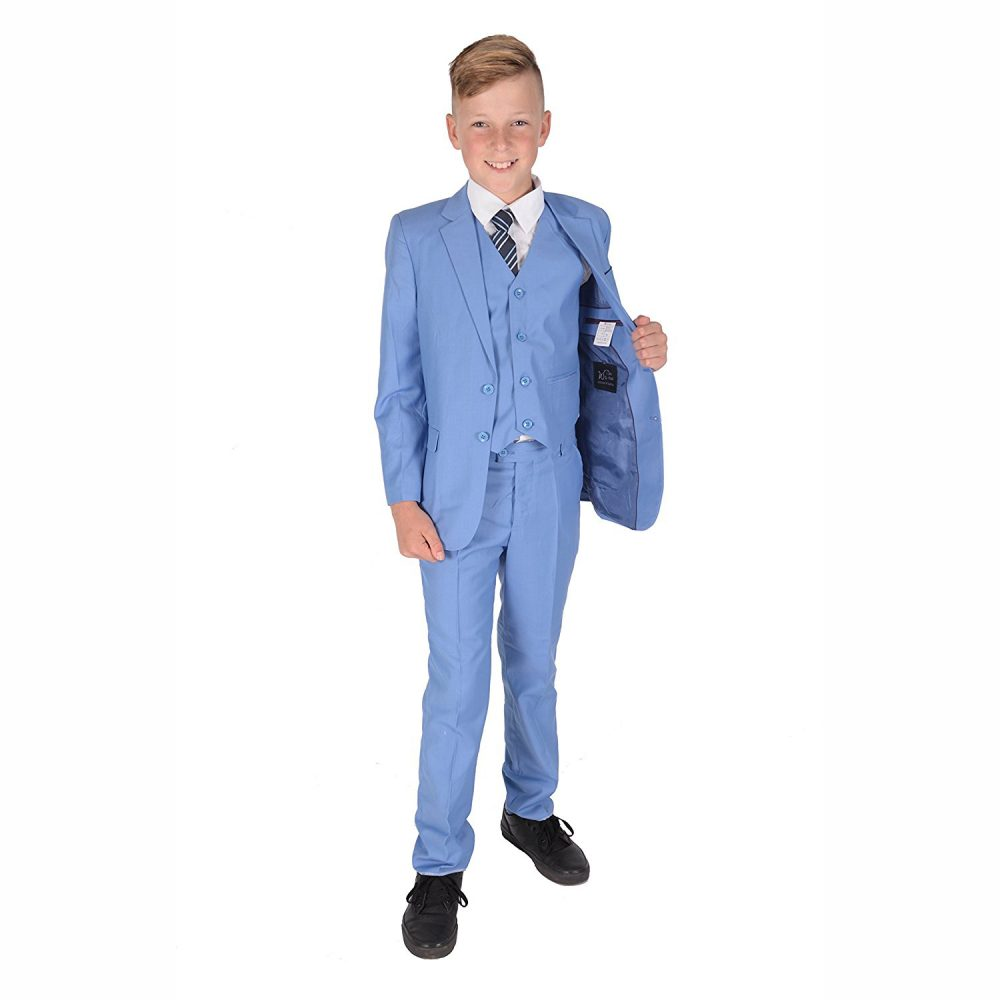 5 Piece Light Blue Boy Suits Boys Wedding Suit Page Boy Party Prom