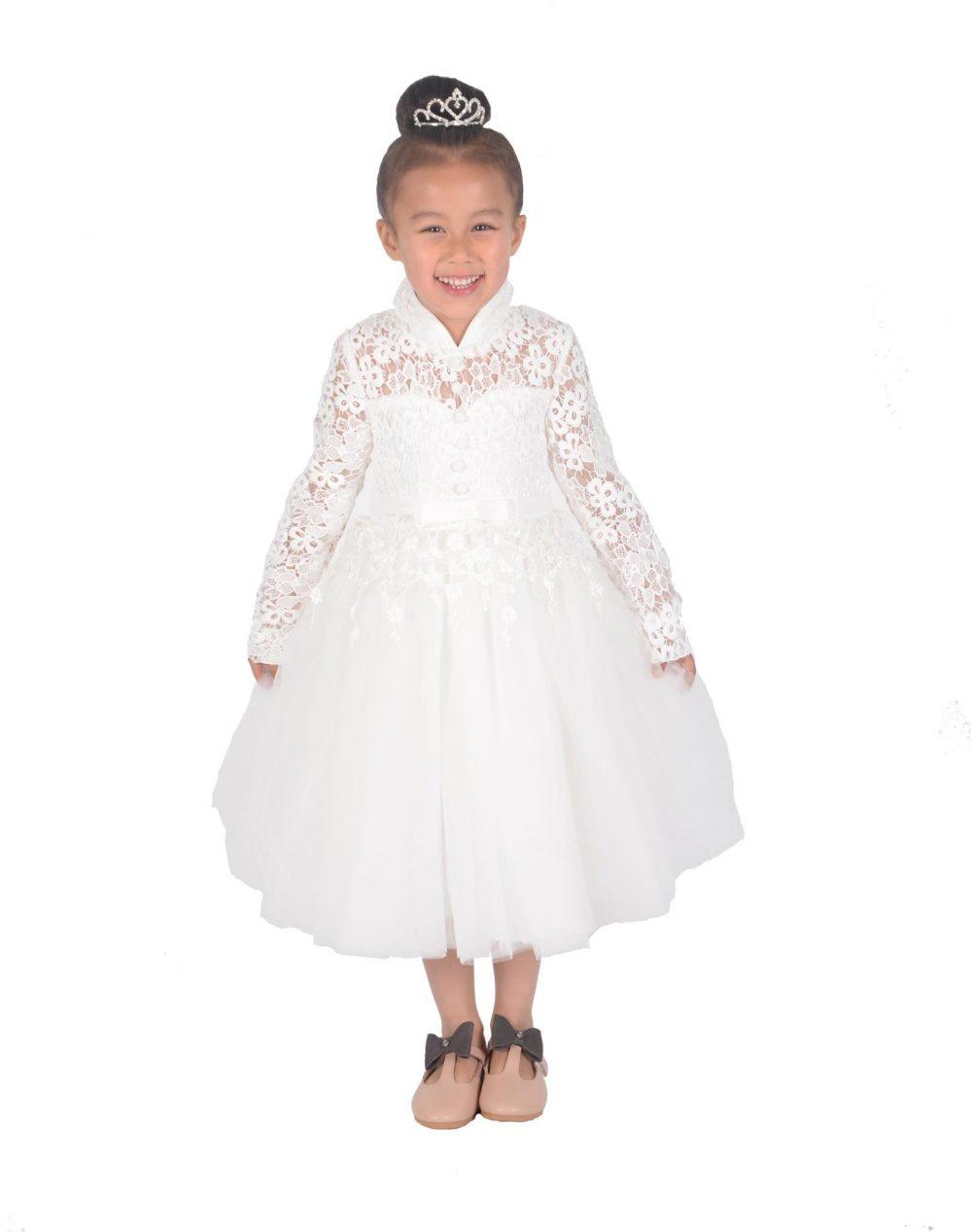Cinda Girls Long Sleeve Ivory Lace Bridesmaid Dress Flower Girl Dress