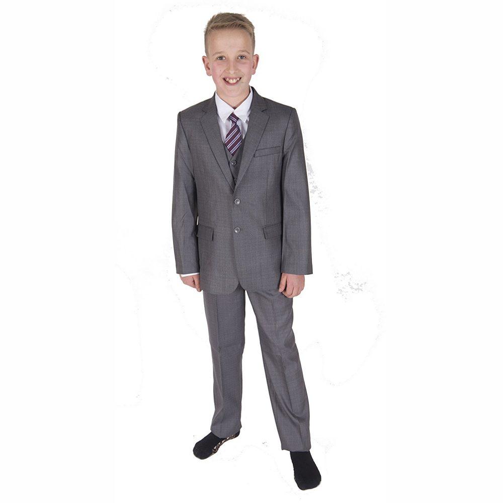 Page Boy Suits Boys Suits 5 Piece Light Grey Boys Wedding Suits Prom Suit