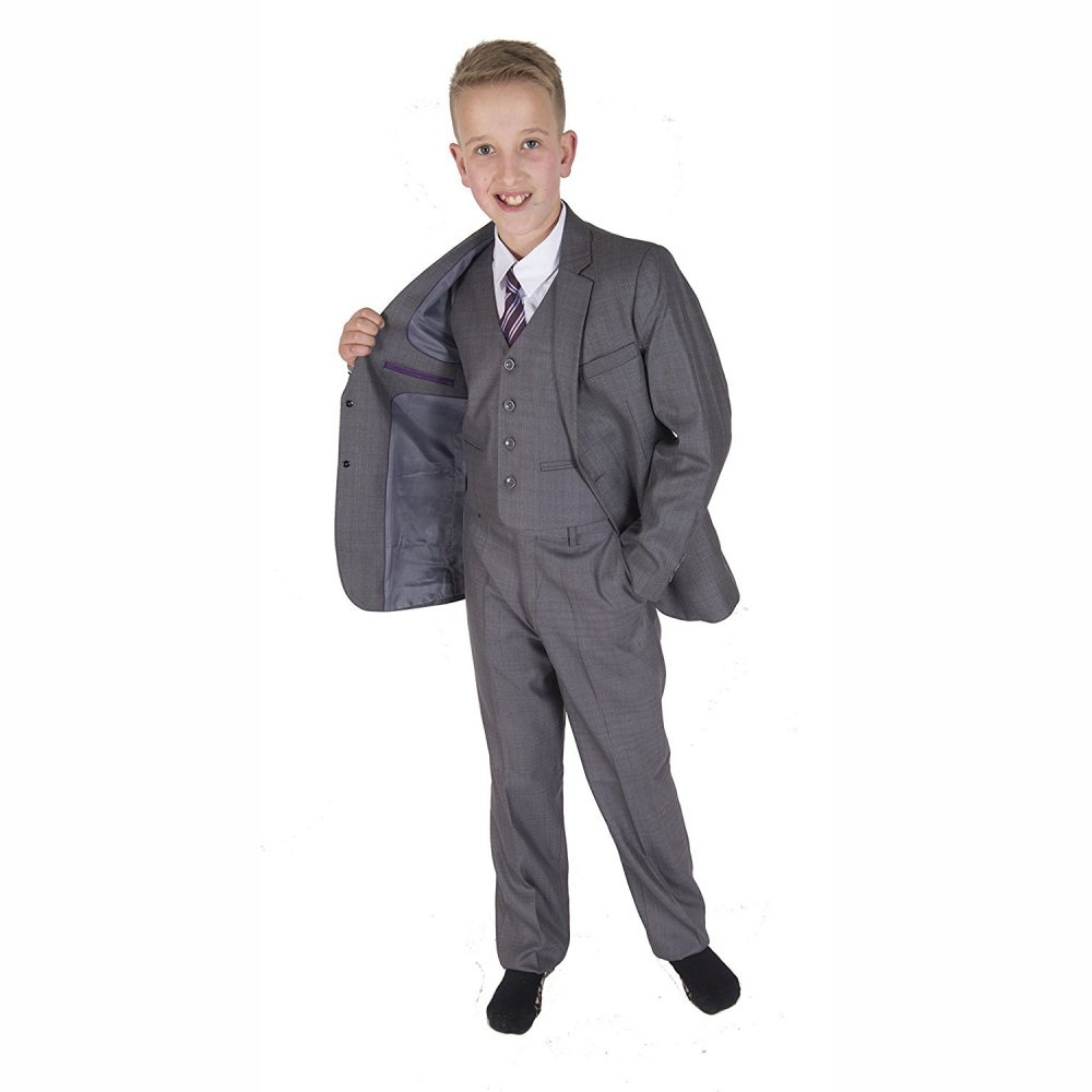5 Piece Light Grey Boy Suits Boys Wedding Suit Page Boy Party Prom