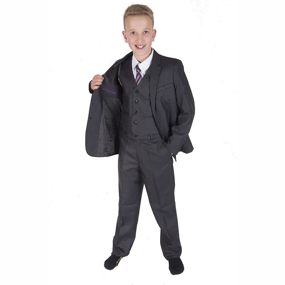 5 Piece Dark Grey Boy Suits Boys Wedding Suit Page Boy Party Prom