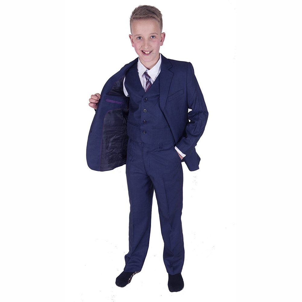 5 Piece Dark Blue Boy Suits Boys Wedding Suit Page Boy Party Prom