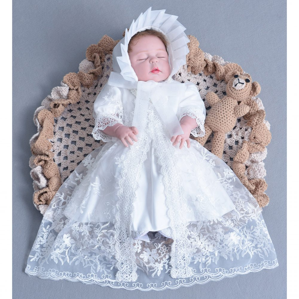 White Lace Christening Gown Cape and Bonnet 208