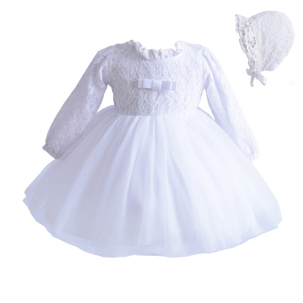 Long Sleeve Lace Christening Party Dress and Bonnet  212