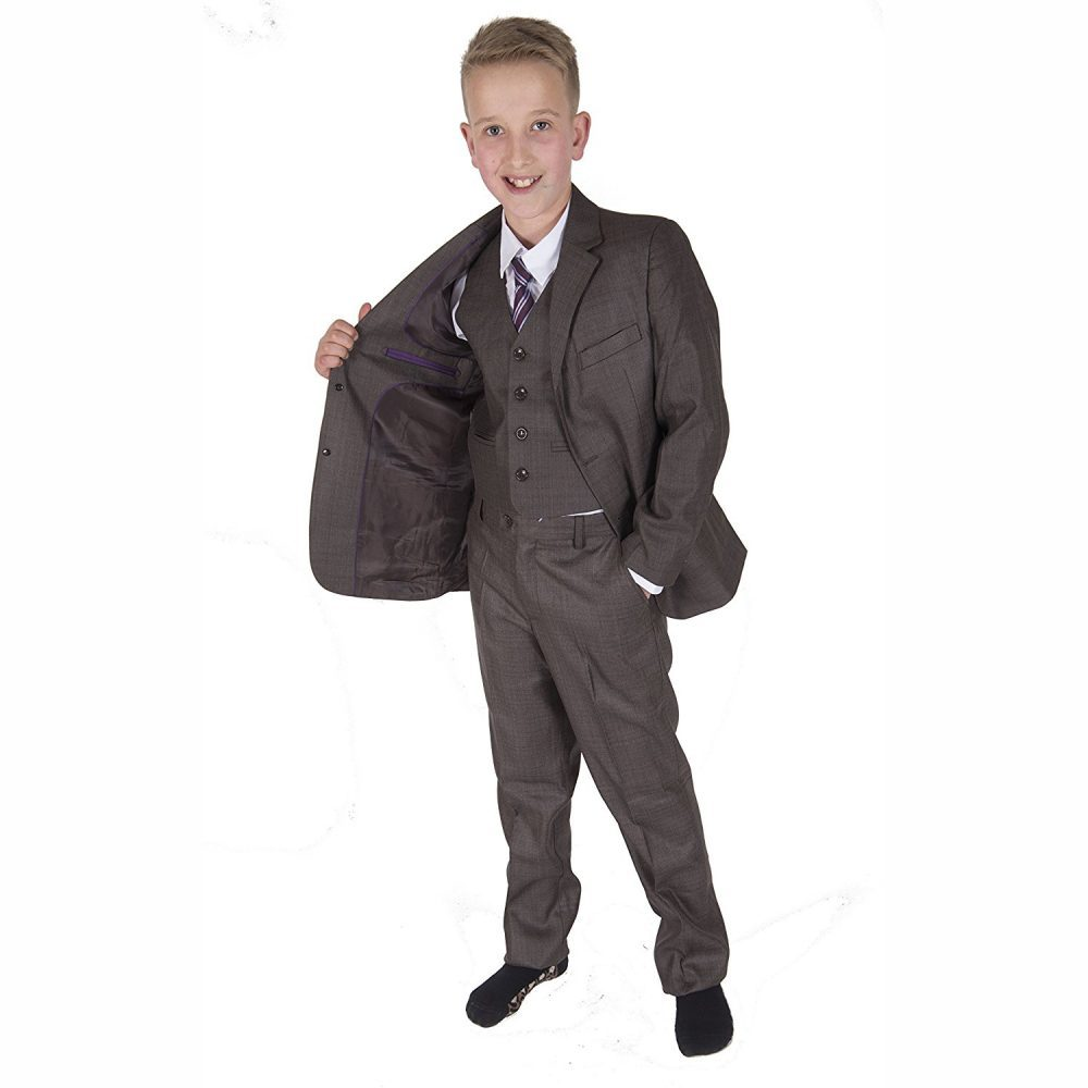 5 Piece Brown Grey Boy Suits Boys Wedding Suit Page Boy Party Prom