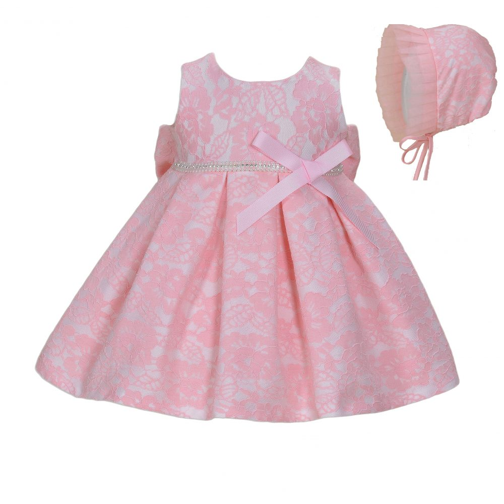 Baby Lace Christening Party Dress and Bonnet 904C
