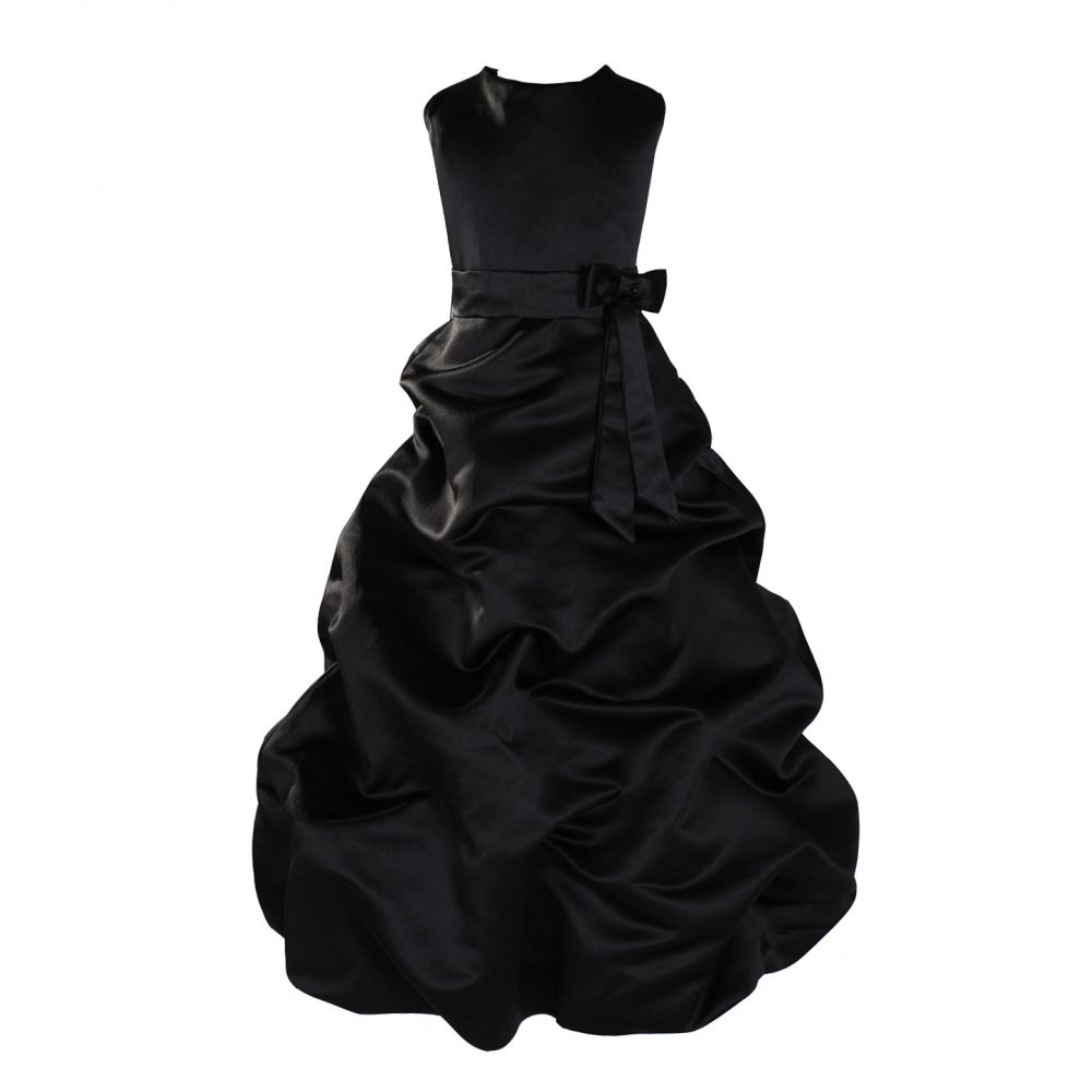 Black Satin Flower Girl Dress Bridesmaid Dress