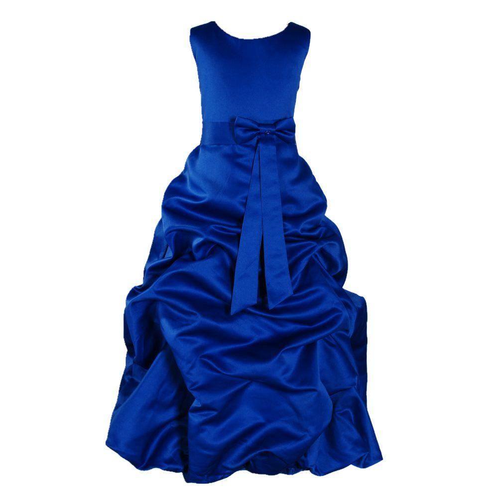 Royal Blue Satin Flower Girl Dress Bridesmaid Dress