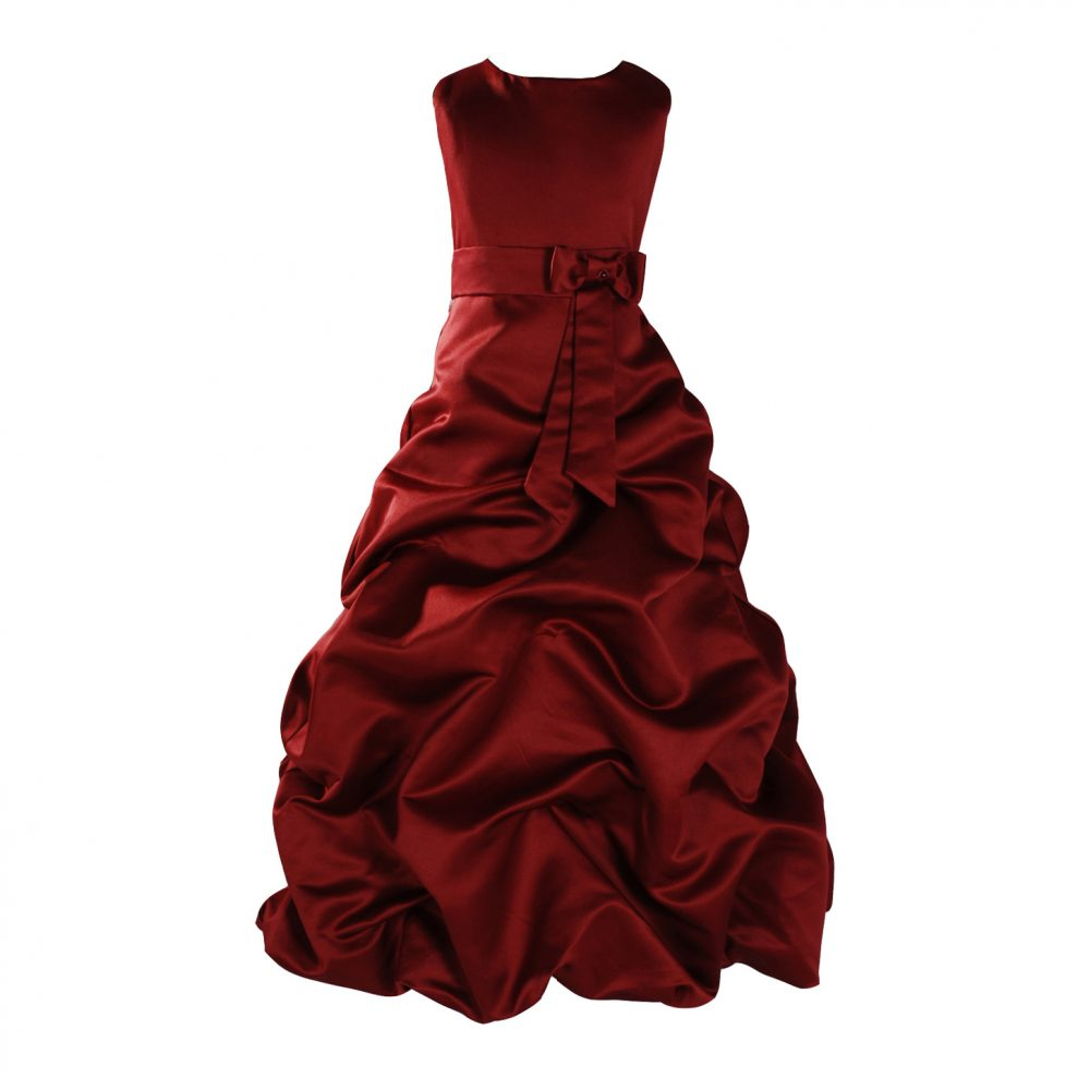 Burgundy Satin Flower Girl Dress Bridesmaid Dress