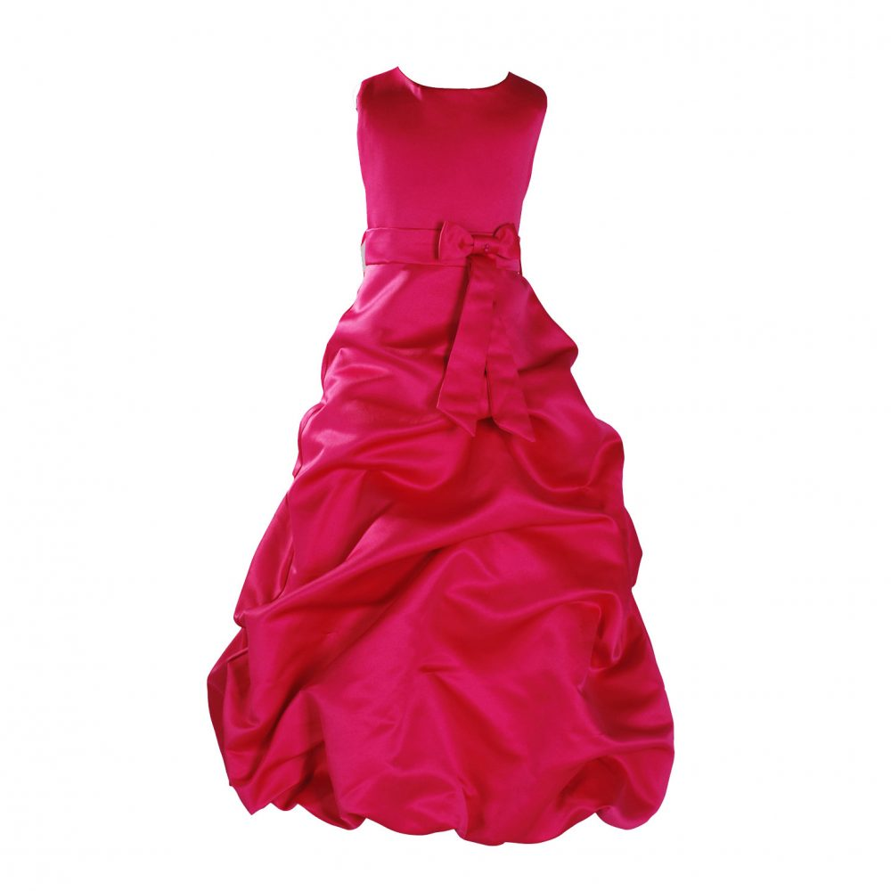 Hot Pink Satin Flower Girl Dress Bridesmaid Dress