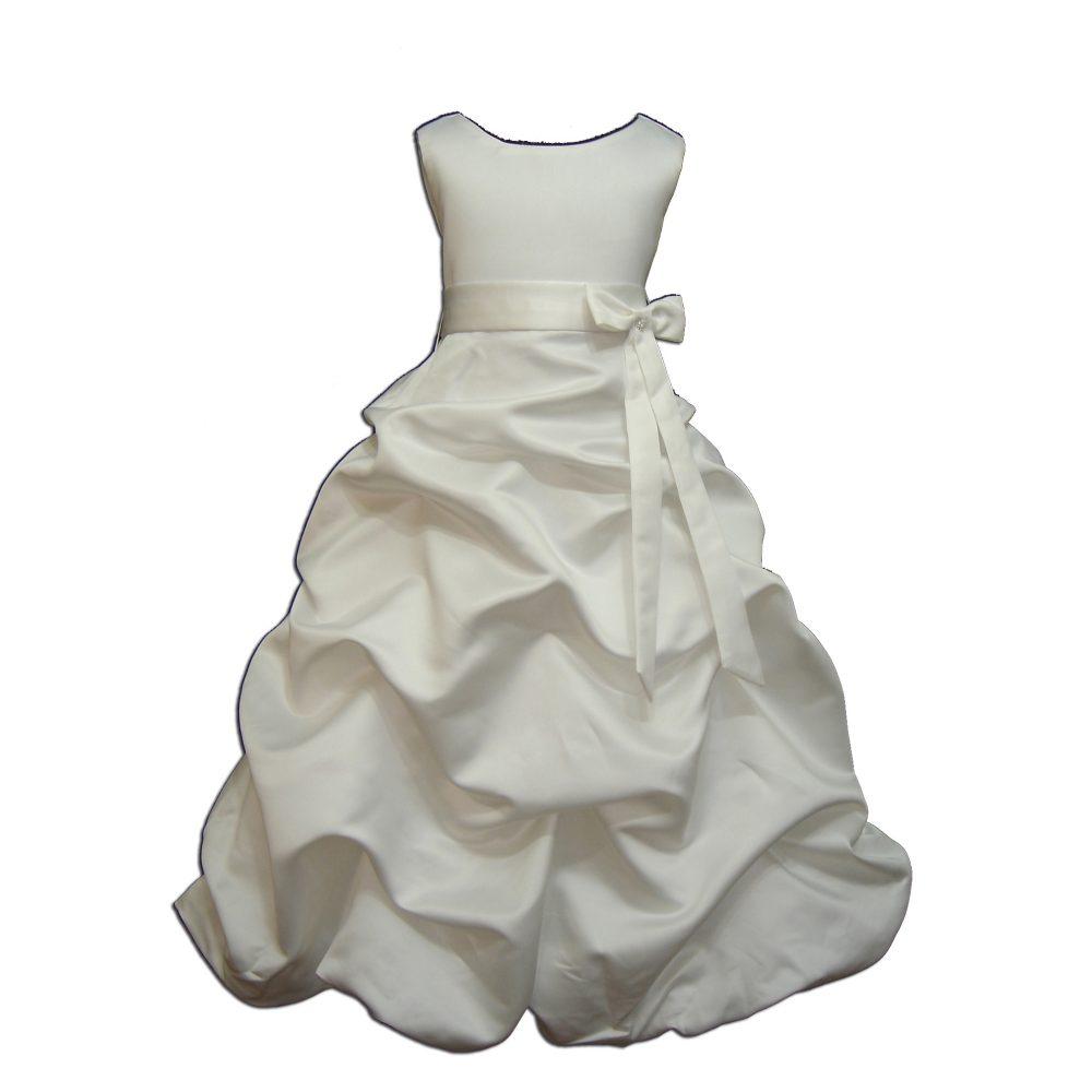 Ivory Satin Flower Girl Bridesmaid Dress