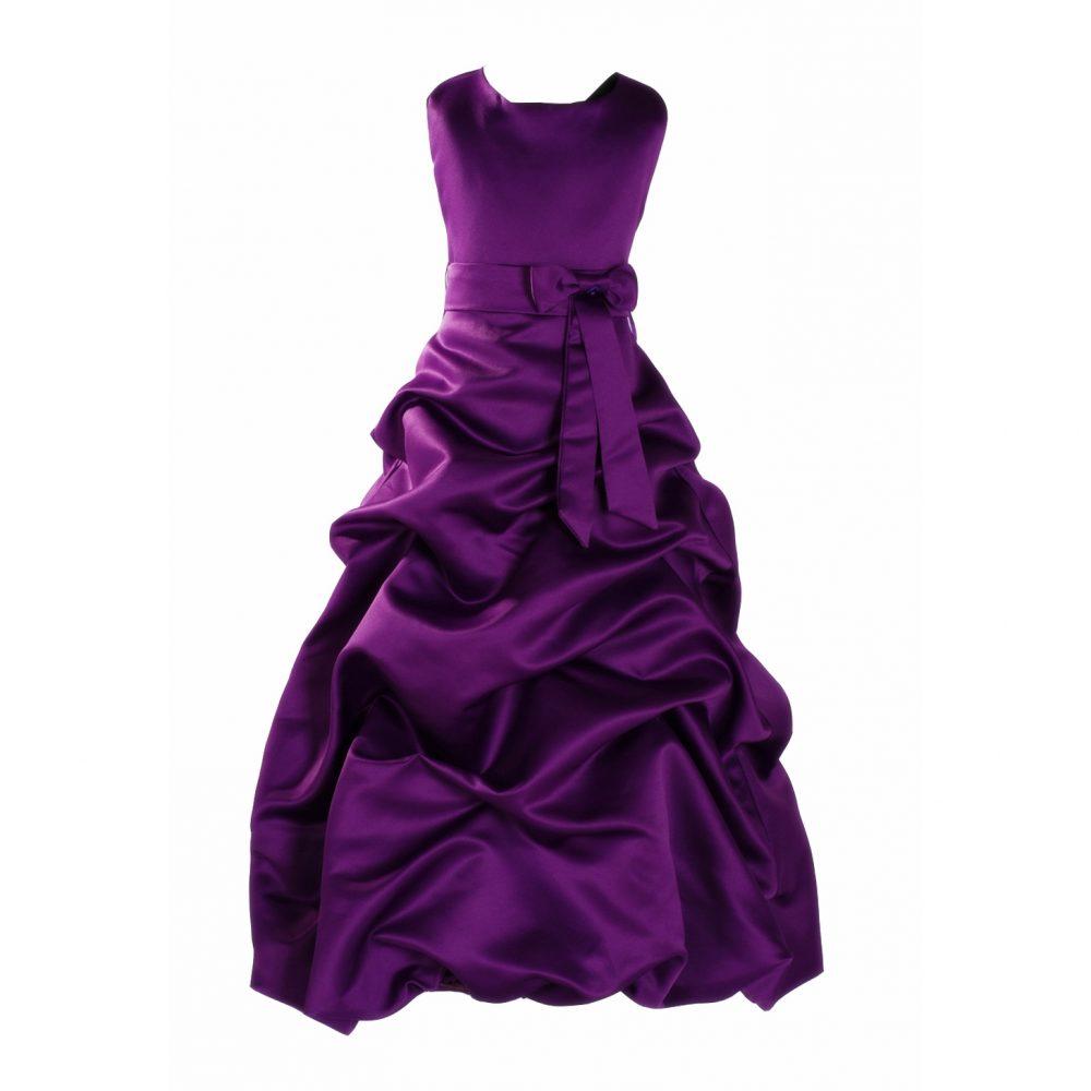 Purple Satin Flower Girl Bridesmaid Dress