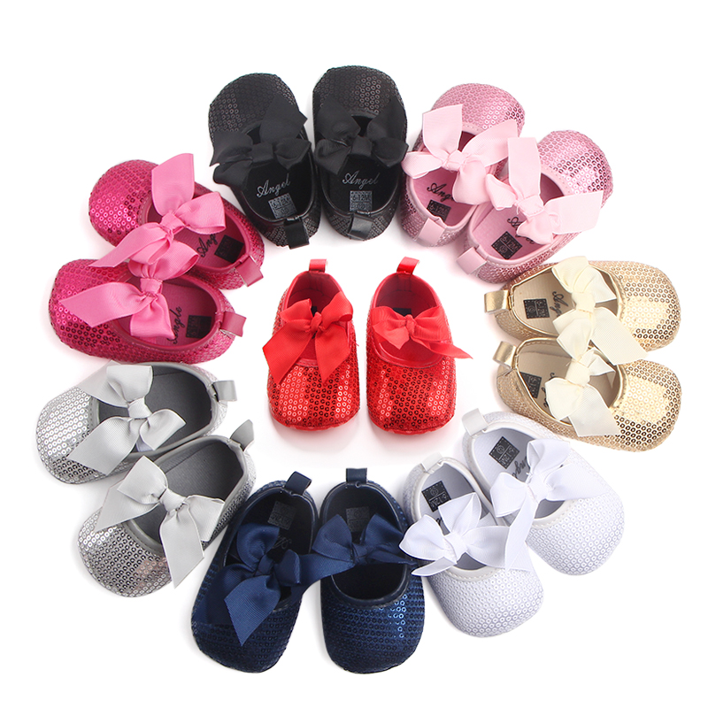 Baby Girls Sequinned Christening Party Shoes K10