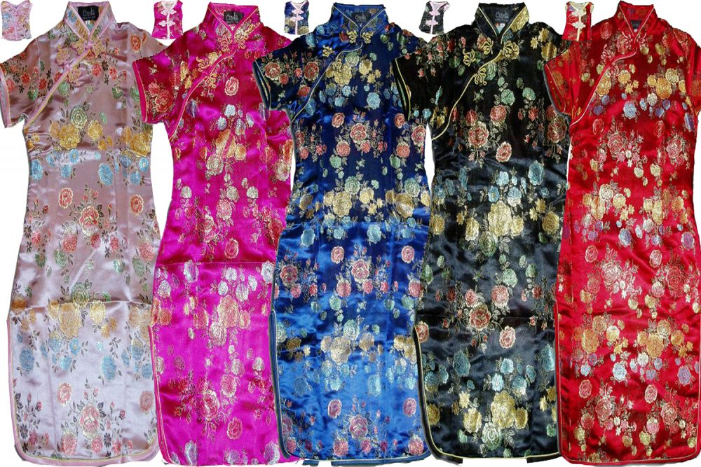 Girls Flower Oriental Chinese Dress Qipao Cheongsam with Purse