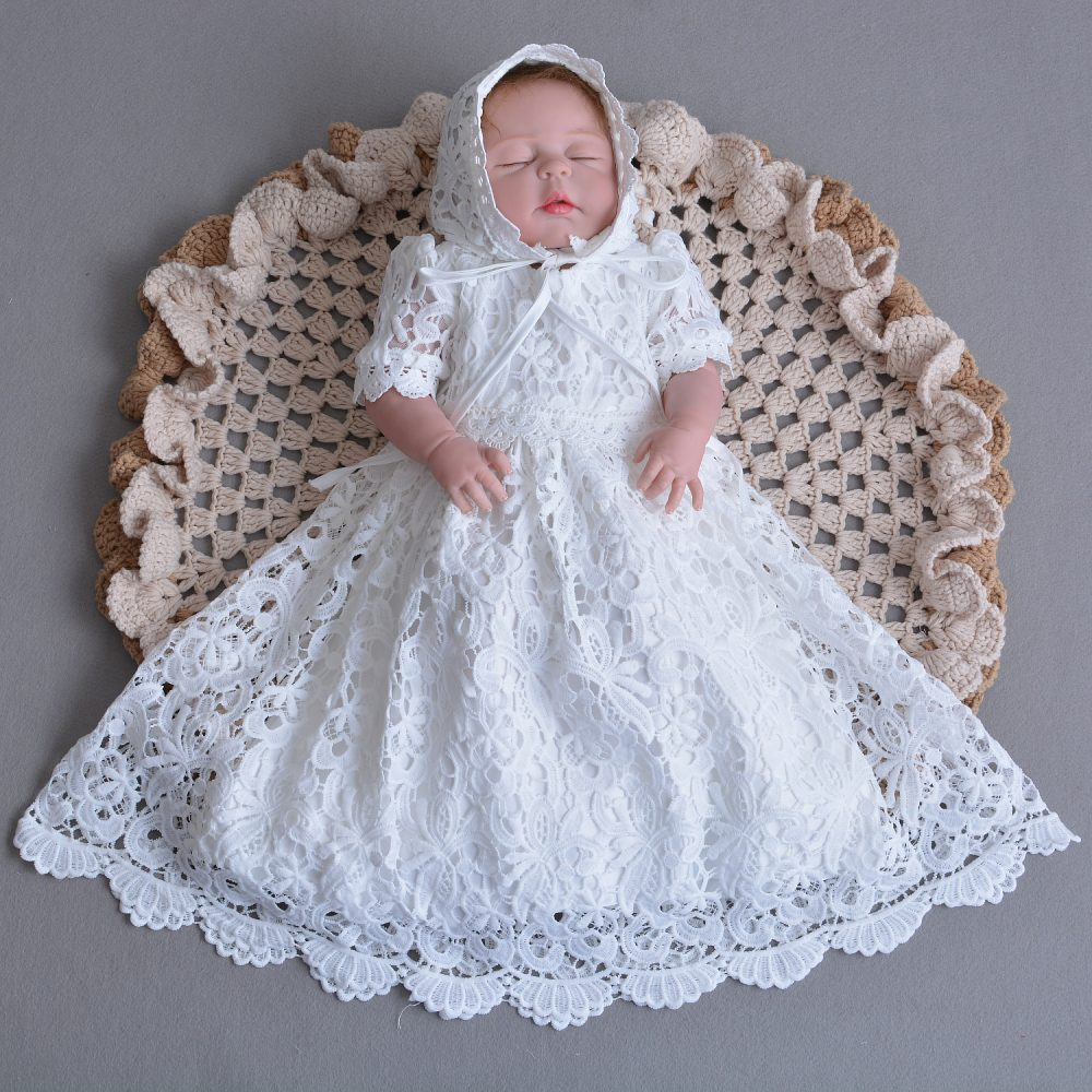 Baby Girls Lace Christening Gown Party Dress and Bonnet 108