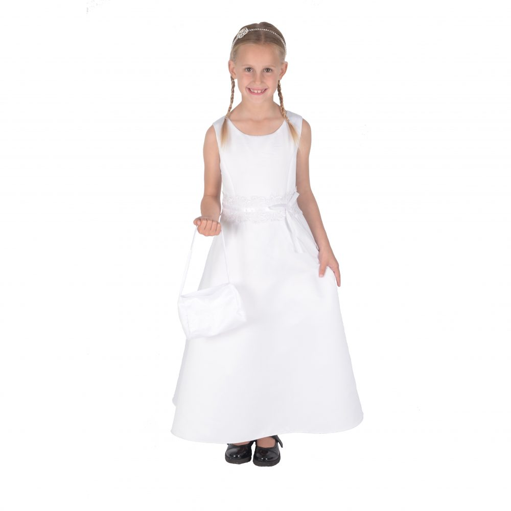 Girls Satin Holy Communion Dress Bridesmaid Dress with Handbag 199