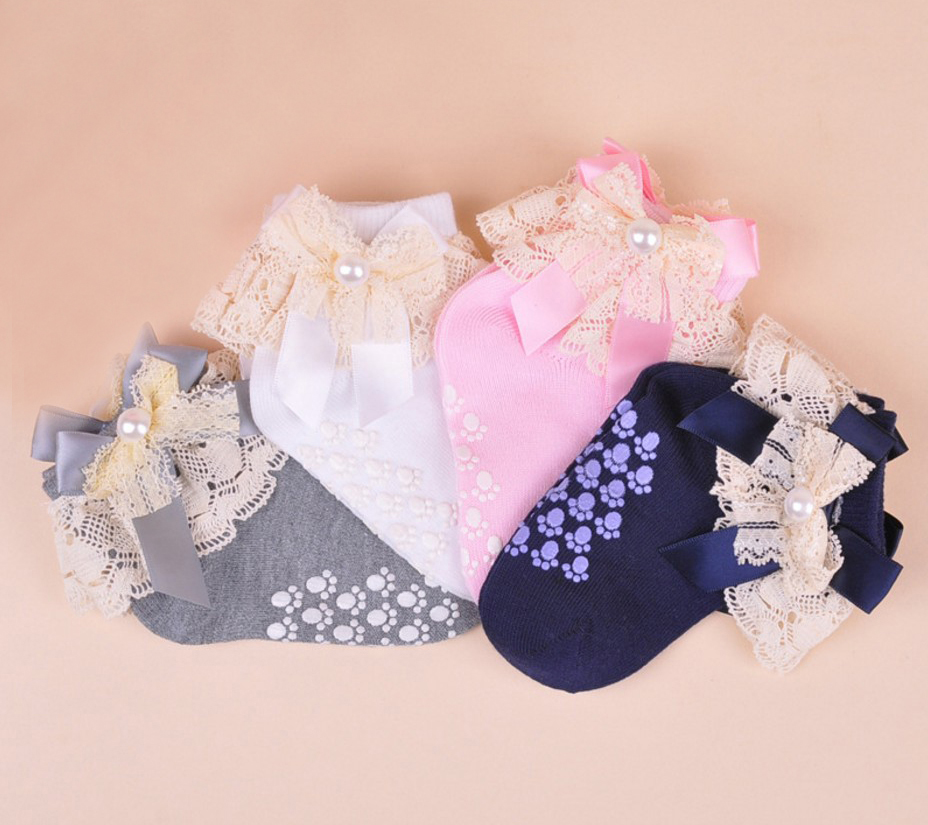 Girls Lace Frilly Christening Socks in White Pink Dark Blue Grey 1-8 Years