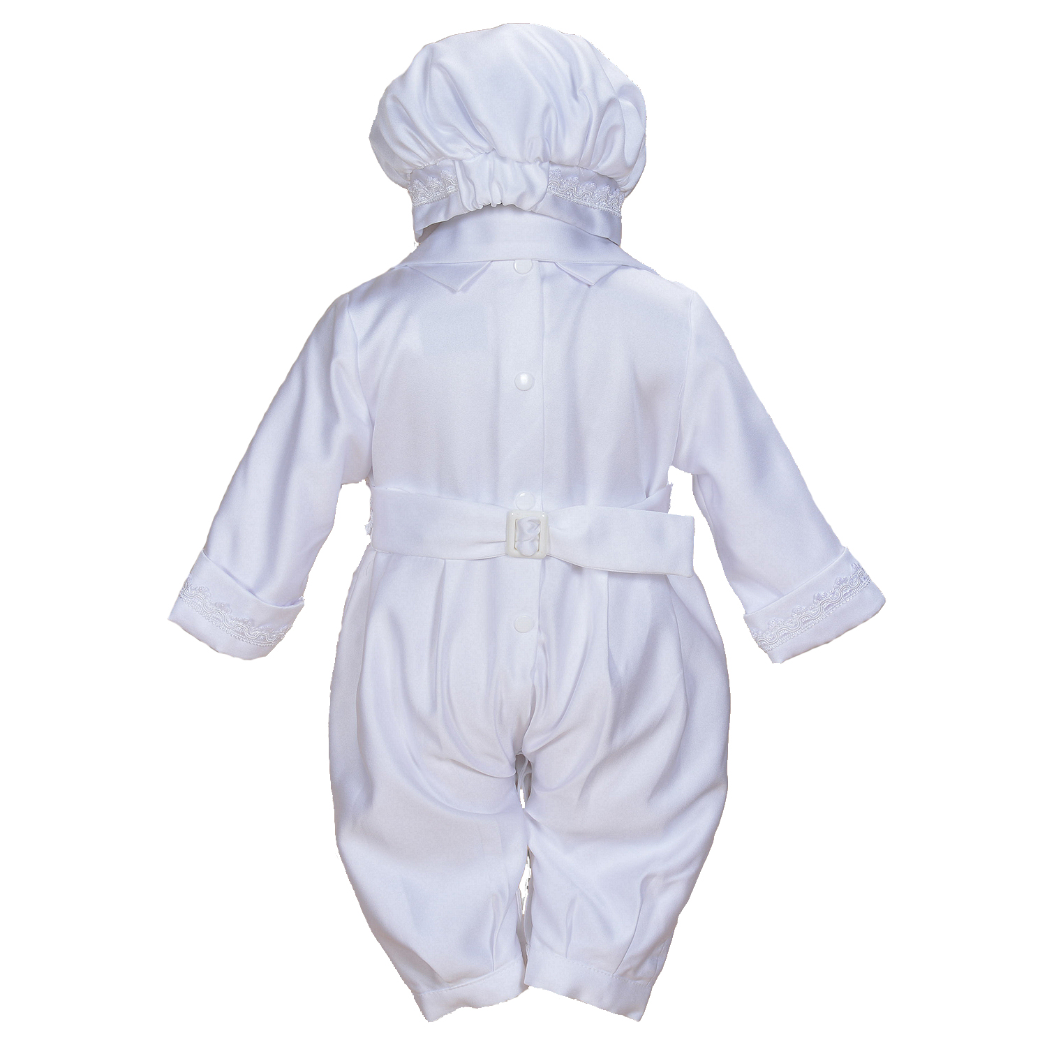 Cinda Boys Satin Christening Romper Set with Hat Scarf Shoes 0 3 6 9 12 Months