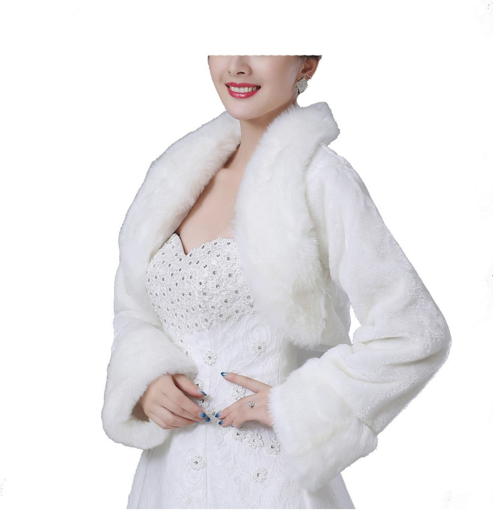 Bridal Ivory Faux Fur Bolero Shawl Shrug One Size Fur09
