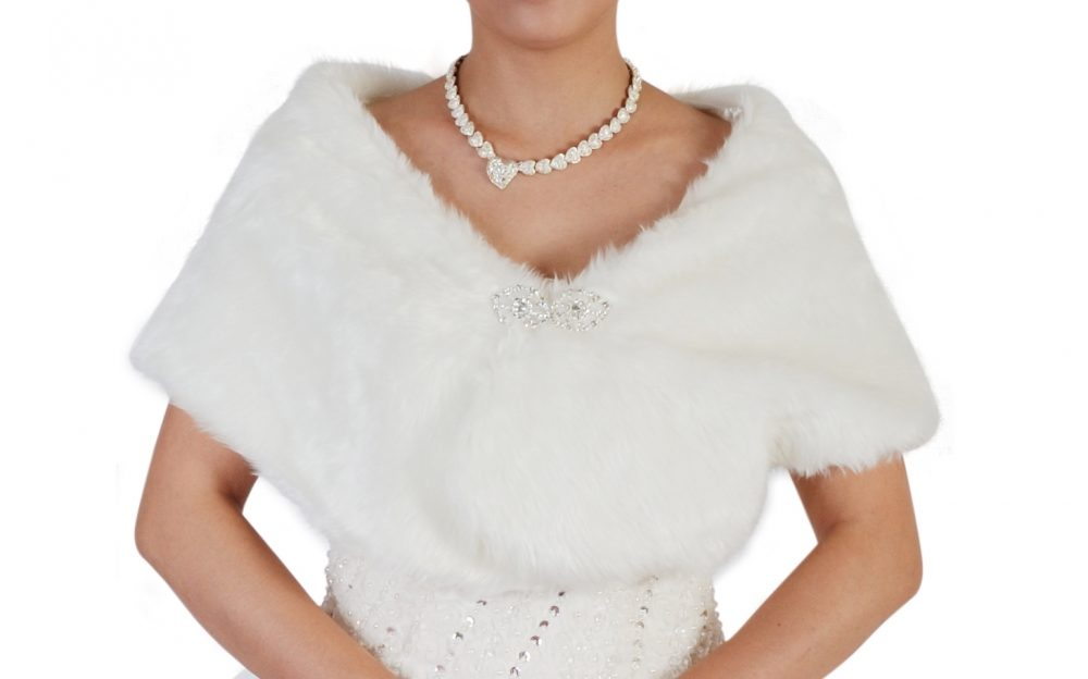 Bridal Ivory Faux Fur Bolero Shawl Shrug One Size  Fur1