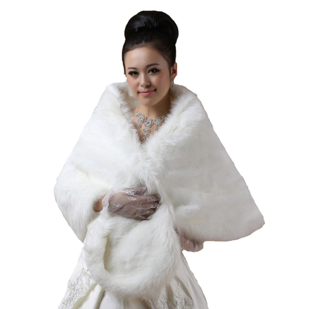 Bridal Ivory Faux Fur Bolero Shawl Shrug One Size  Fur2