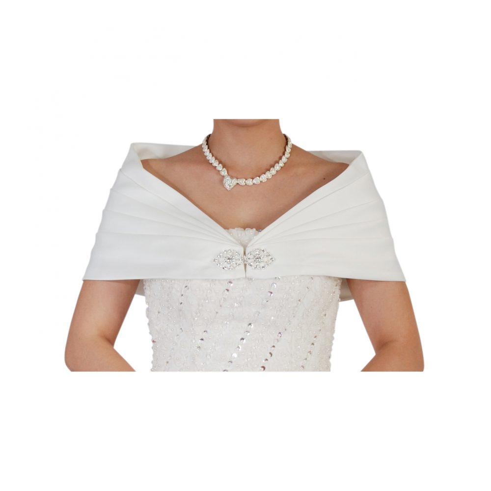 Bridal Ivory Satin Bolero Shawl Shrug One Size