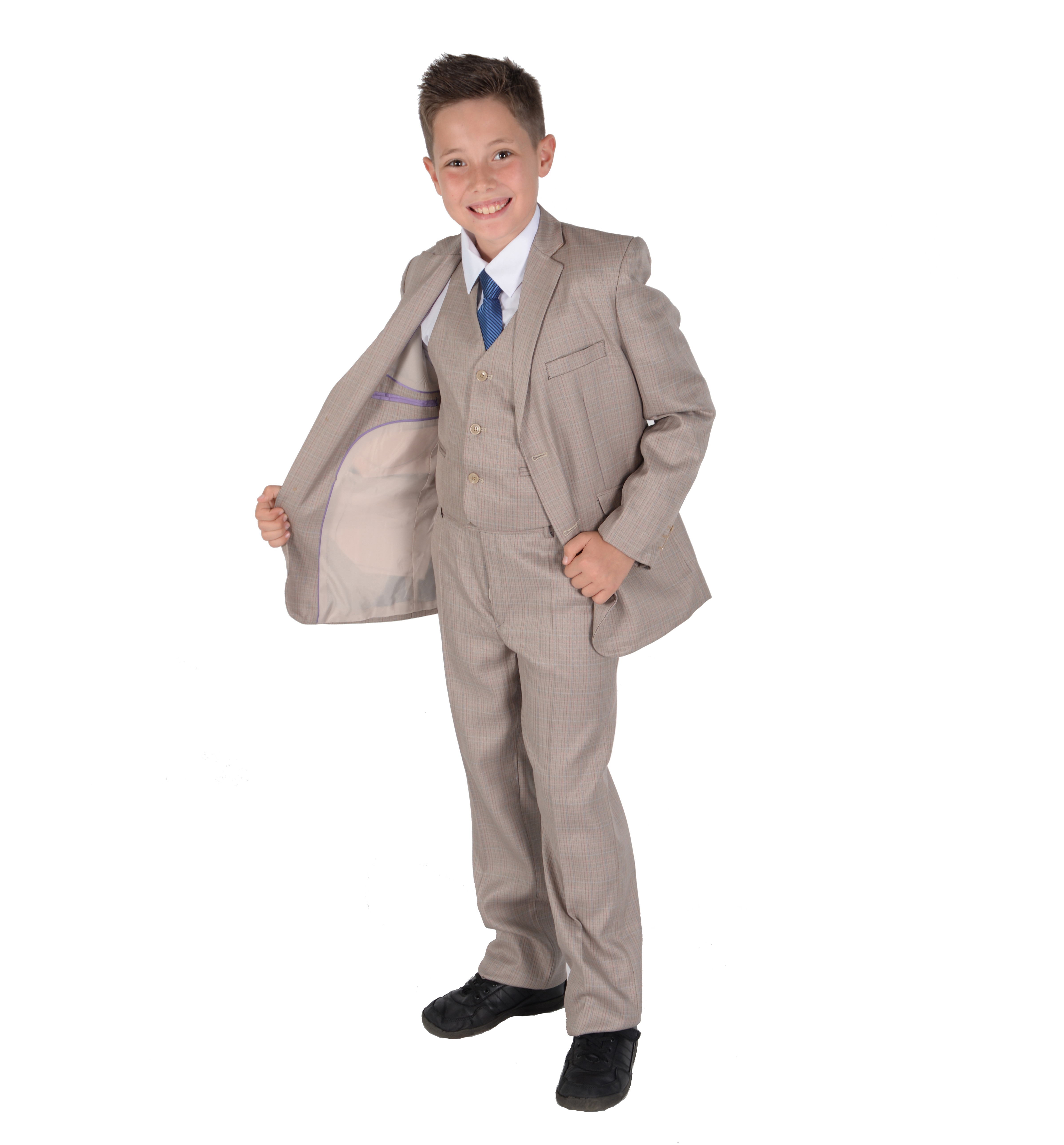 Cinda Boys Light Grey Suits Wedding PageBoy Party Prom 5 Piece Suit 2-12 Years