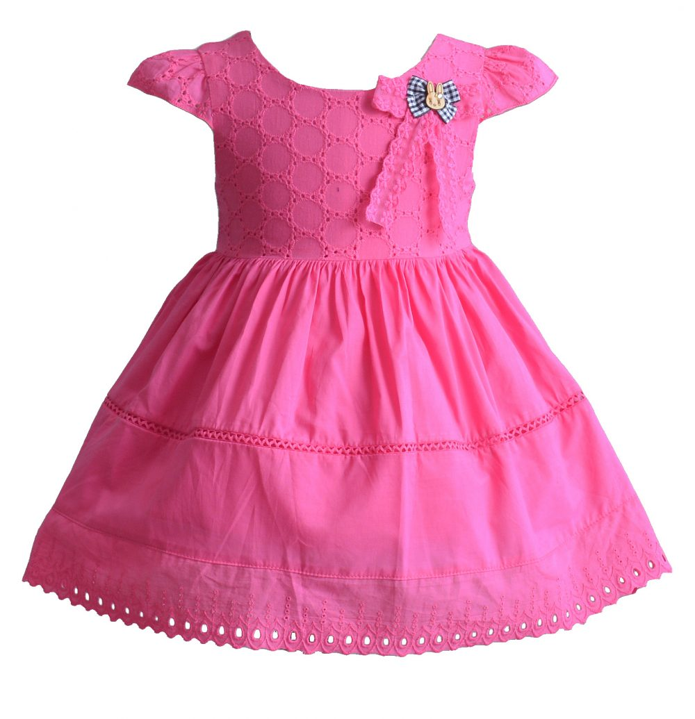 Baby Girls Cotton Party Dress in Hot Pink Yellow Ivory XL1807
