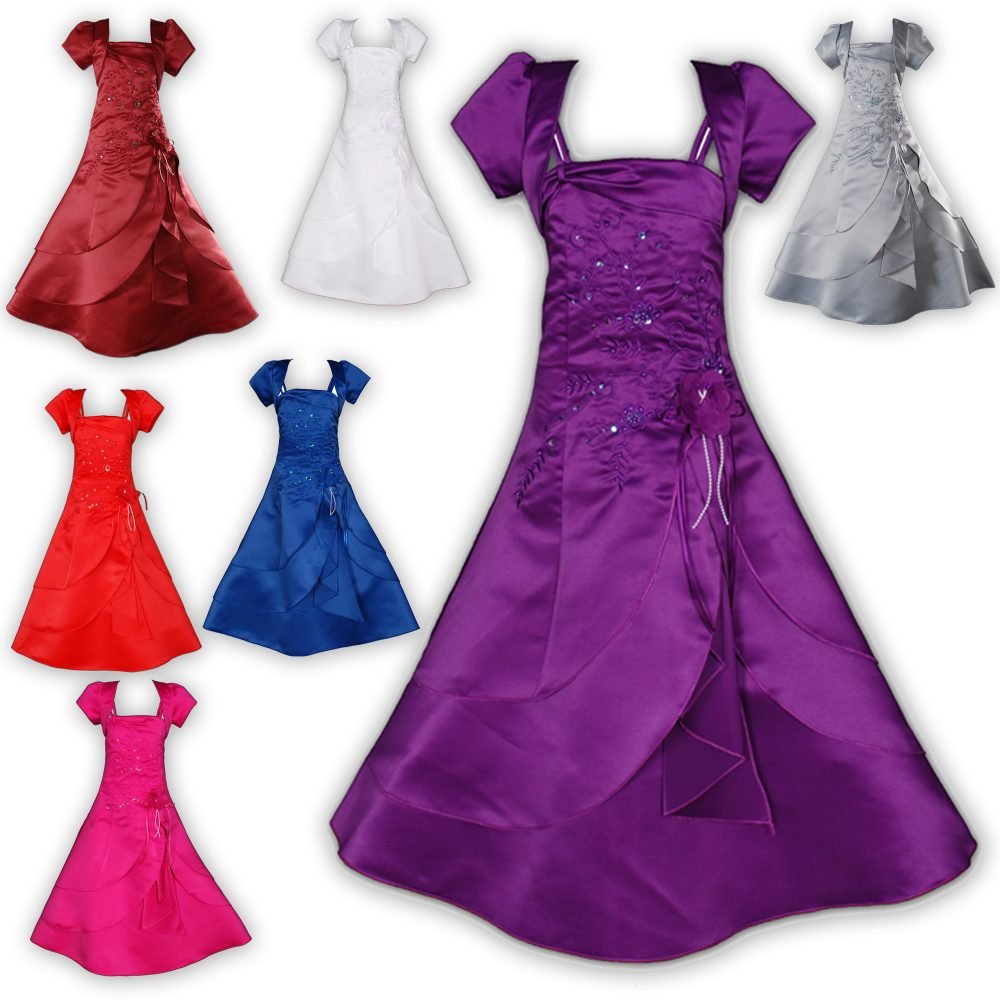 Satin Bridesmaid Flower Girls Dress with Bolero