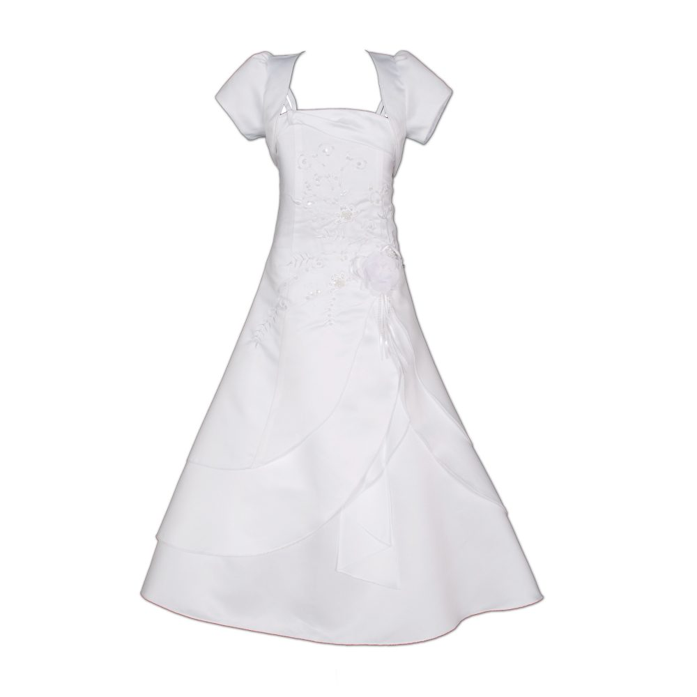 Girls Satin Holy Communion with Bolero White Ivory