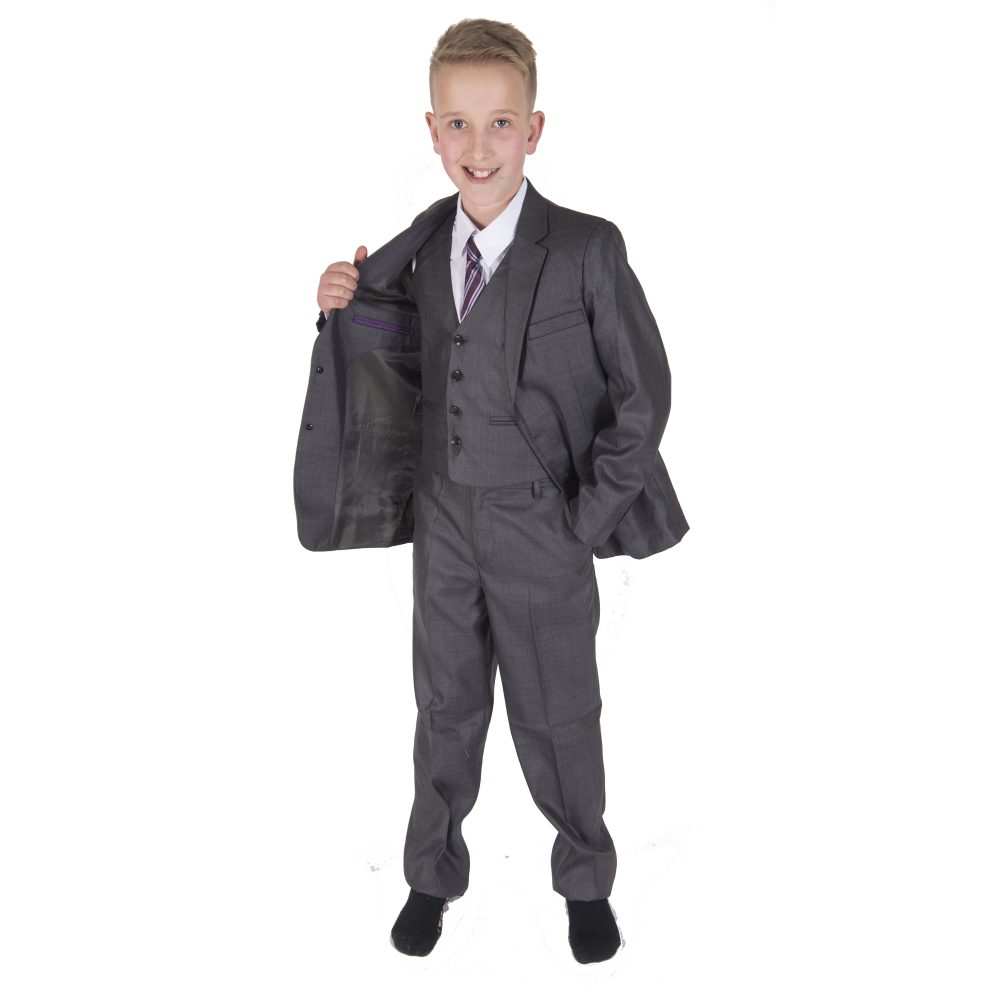 5 Piece Grey Boy Suits Boys Wedding Suit Page Boy Party Prom