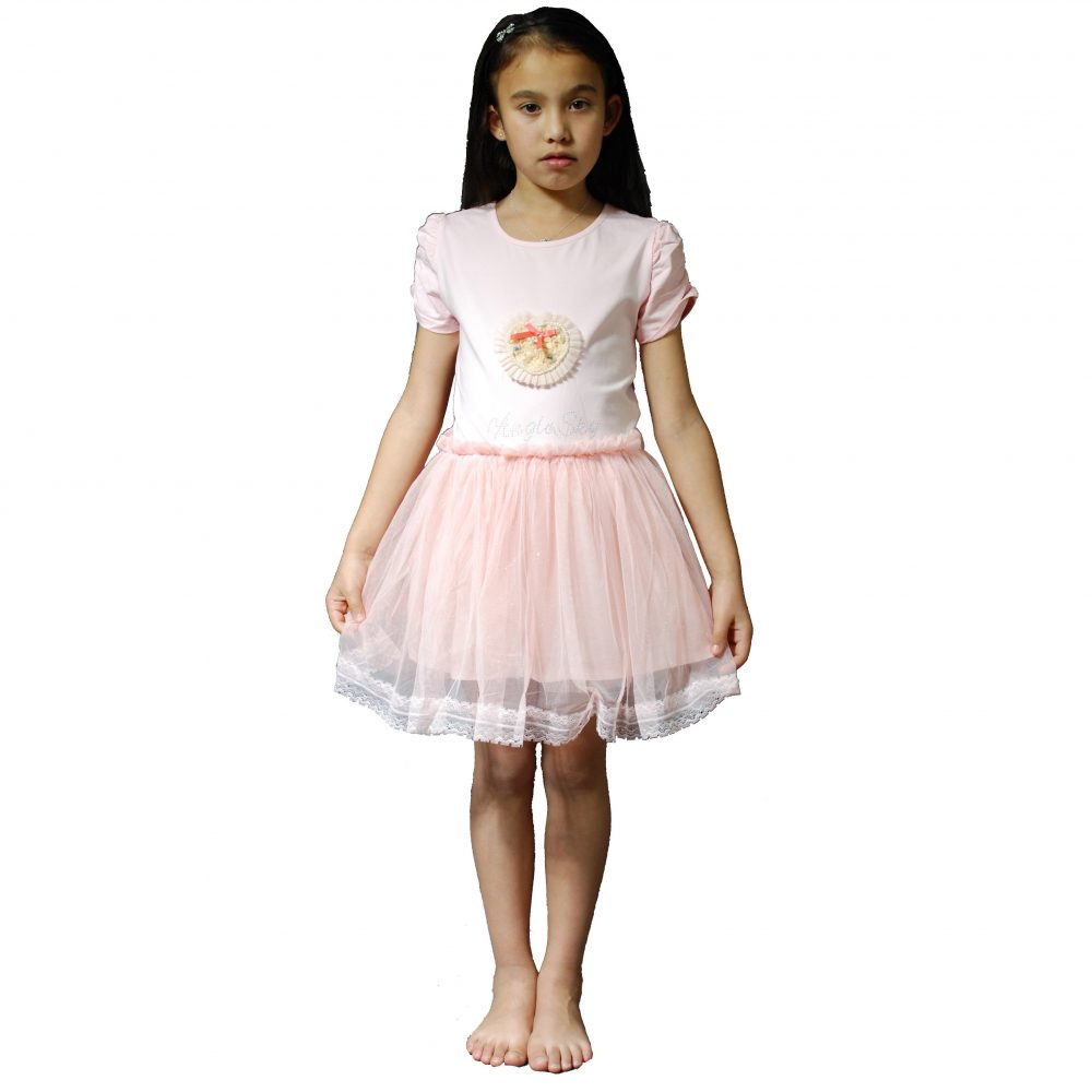 Girls Party Dress in Pink Ivory 5 6 7 8 9 10 11 Years KN388