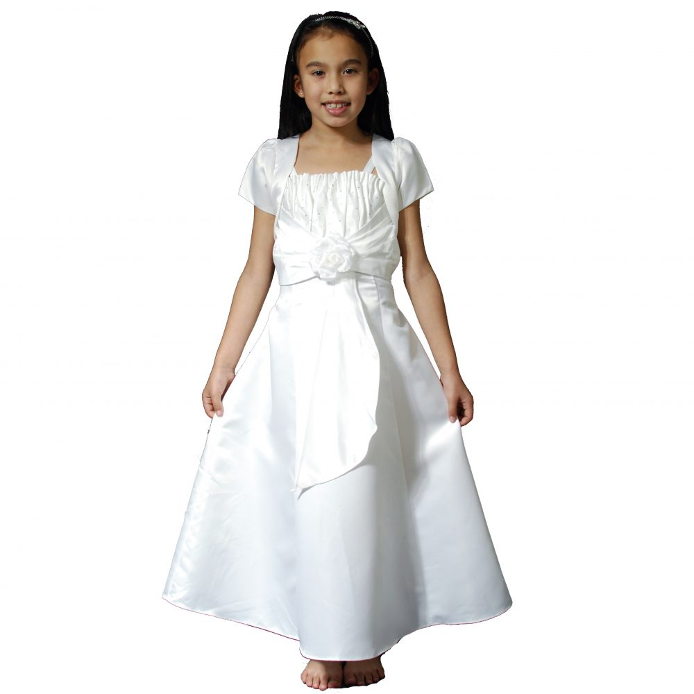 Girls White Satin Holy Communion Dress with bolero ZY4238