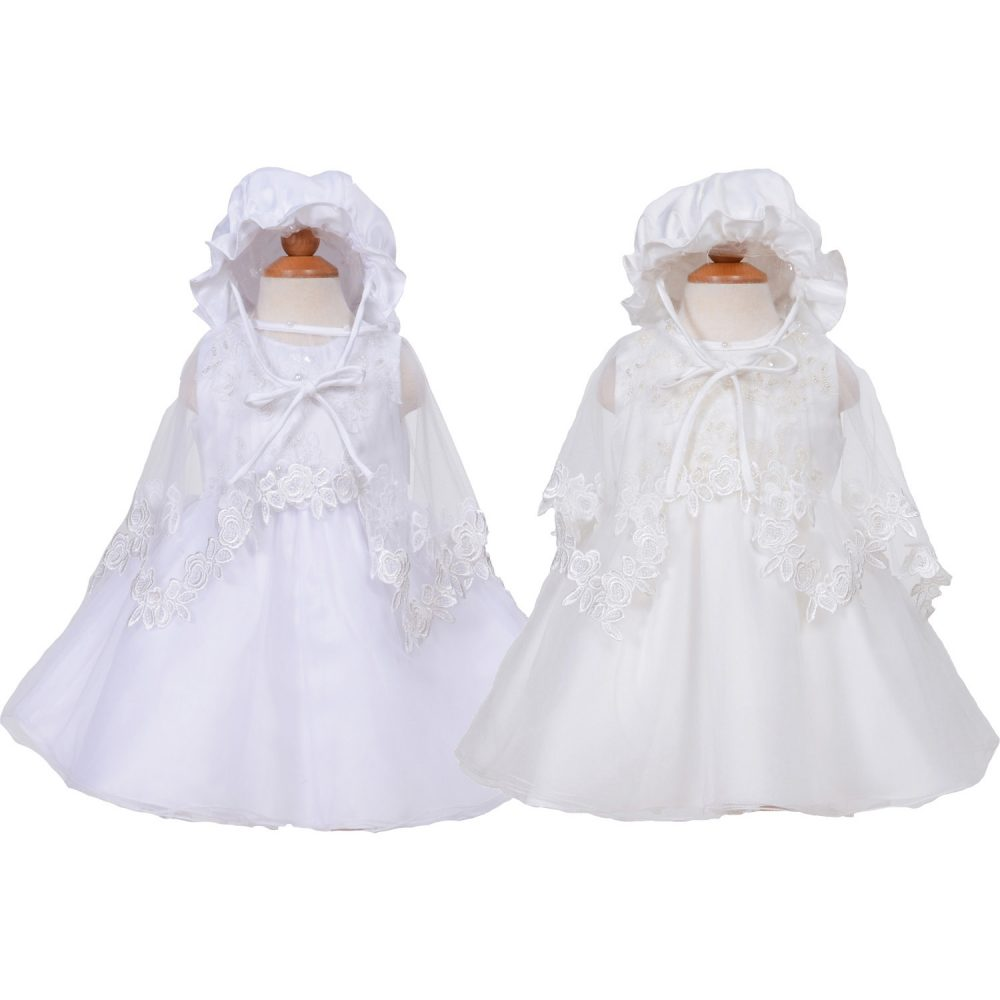 Baby Christening Party Dress Cape and Bonnet in White Ivory
