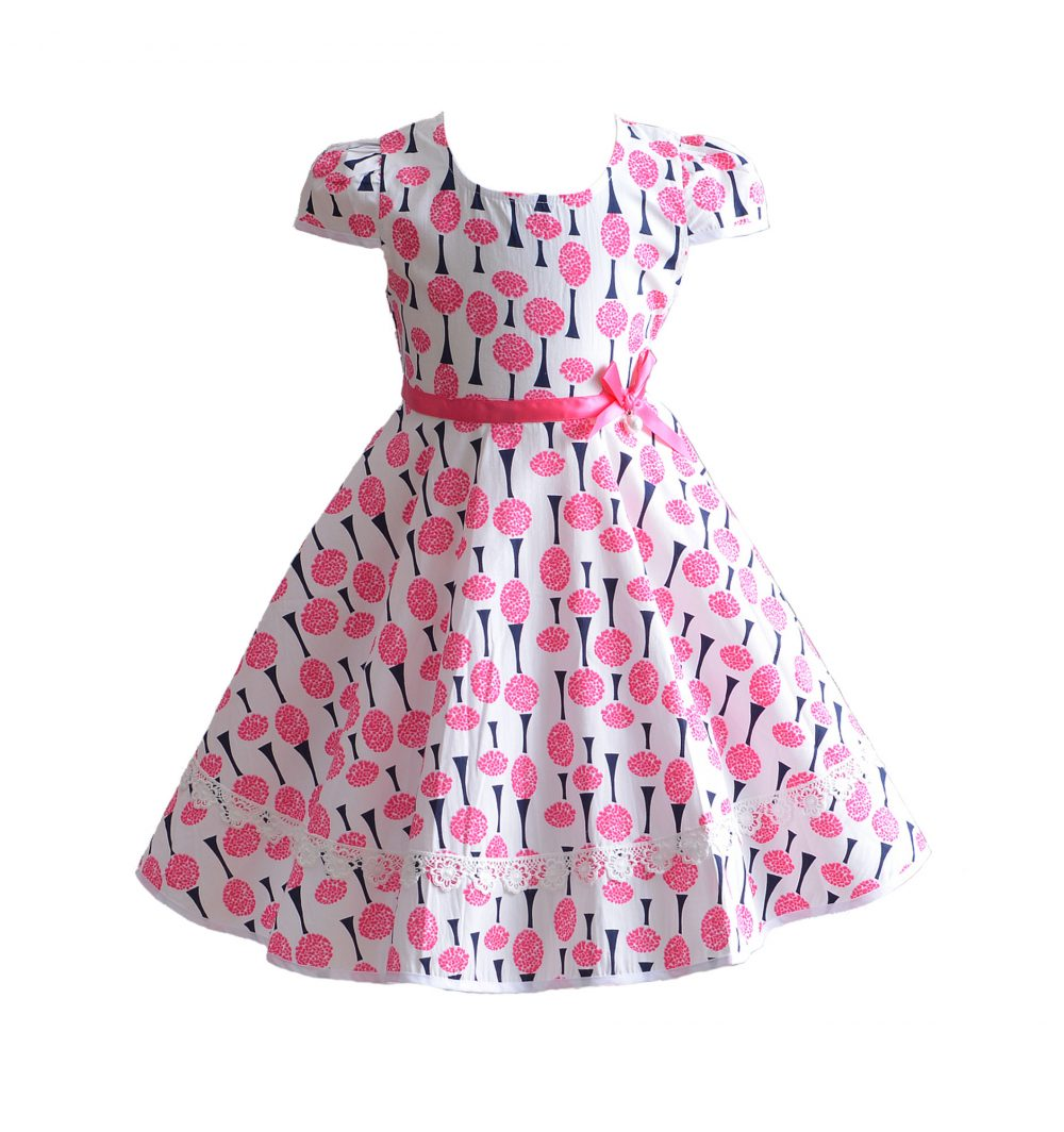 Pink Summer Cotton Party Dress 4 5 6 7 8 Years XL7032