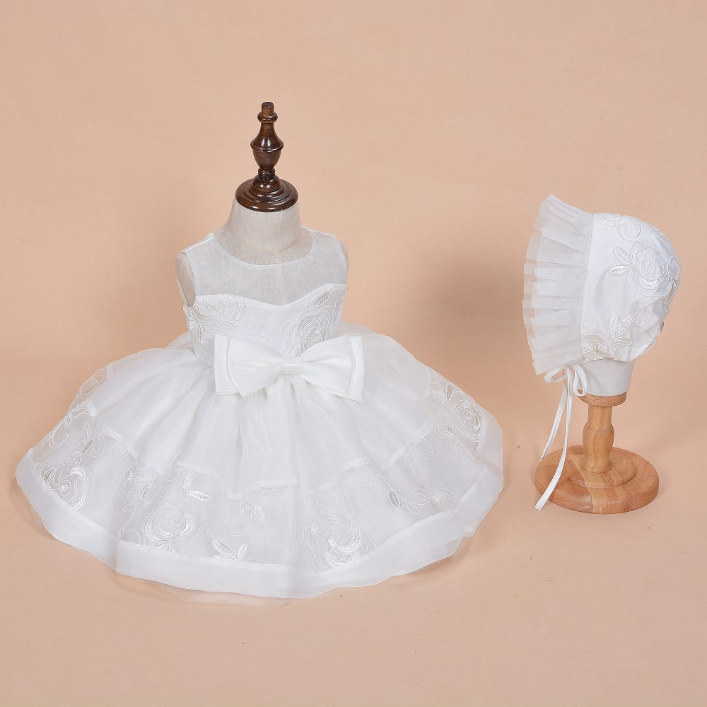 Baby Girls Ivory Lace Party Christening Dress Bonnet