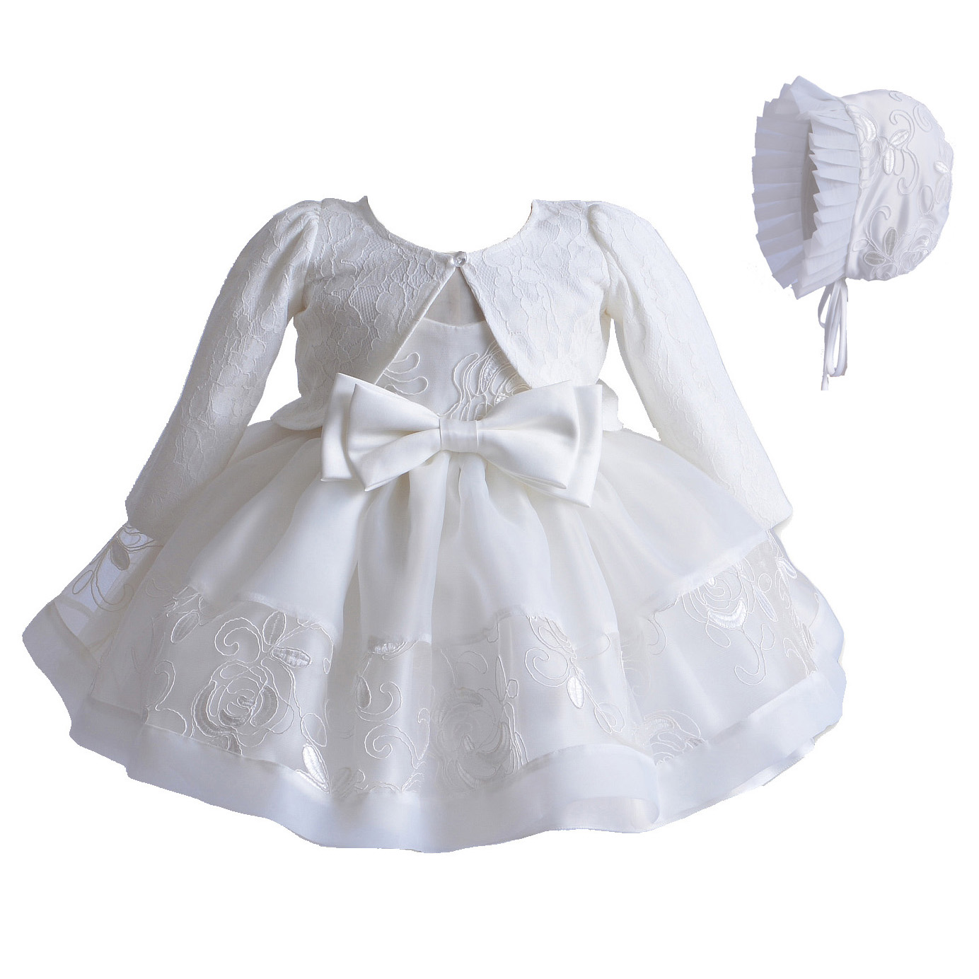 daf7ccd938e35 Baby Girls Ivory Lace Party Christening Dress Bonnet Jacket