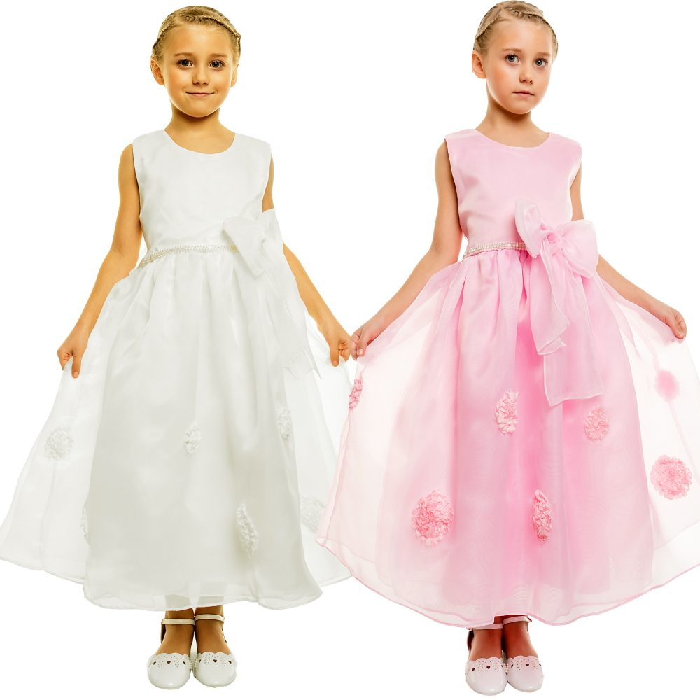 Flower Girl Party Bridesmaid Dress Pink Ivory 808