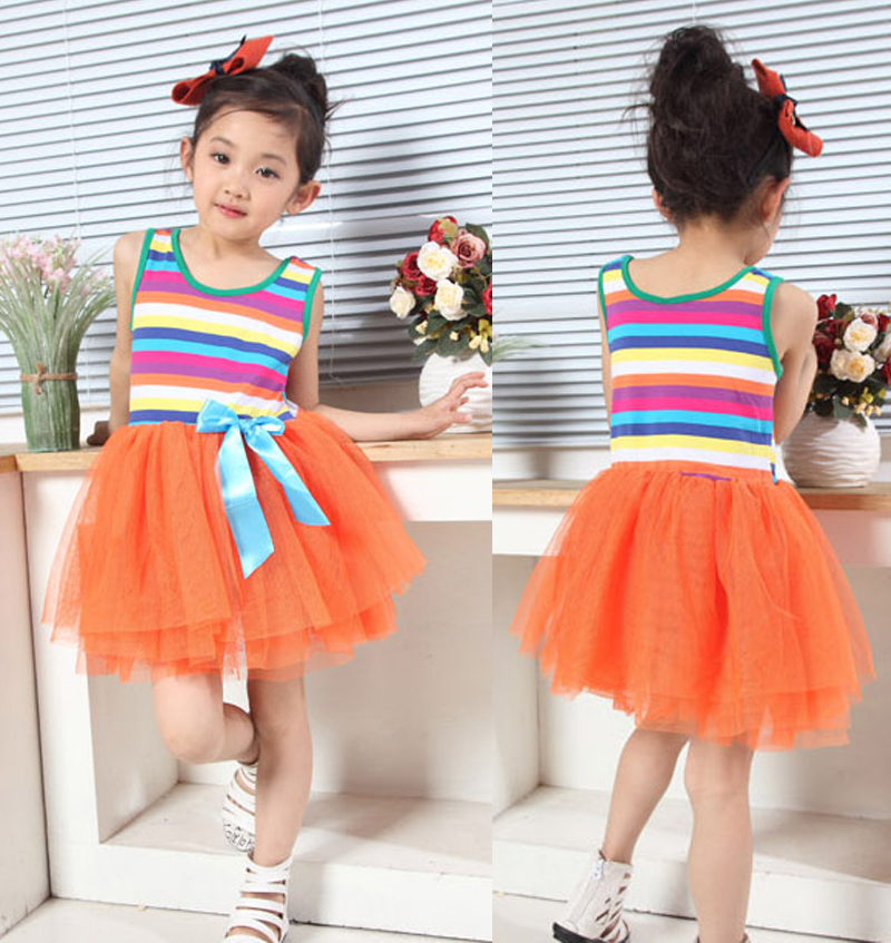 Girls Striped Party Dress in Orange Yellow Hot Pink White