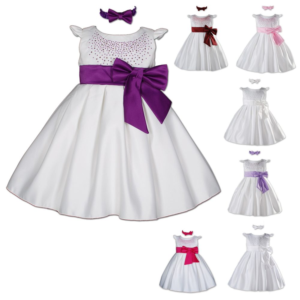 Satin Christening Party Dress with Matching Headband