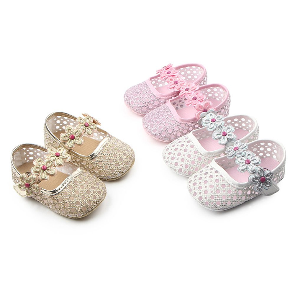 Baby Girls Sparkling Party Shoes in Pink White Gold
