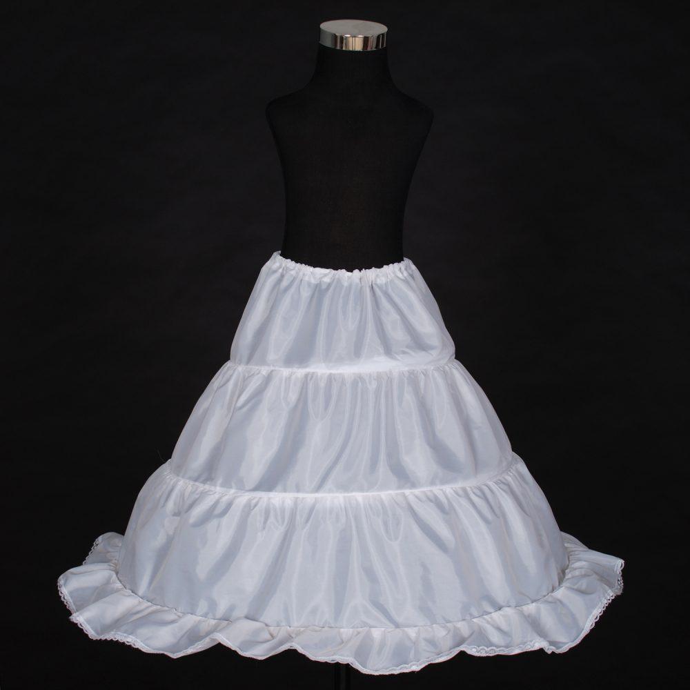 Flower Girl Bridesmaid 1 layer 3 Hoops White Underskirt Petticoat One Size