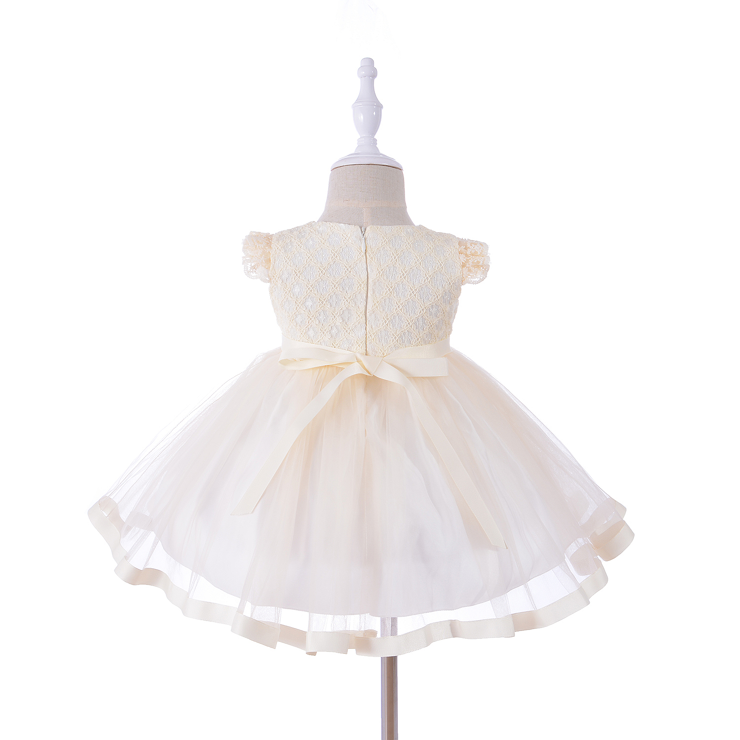 18b961e73464 Baby Girls Party Dress With Bonnet Yellow Pink Blue 0 3 6 12 18 24 ...