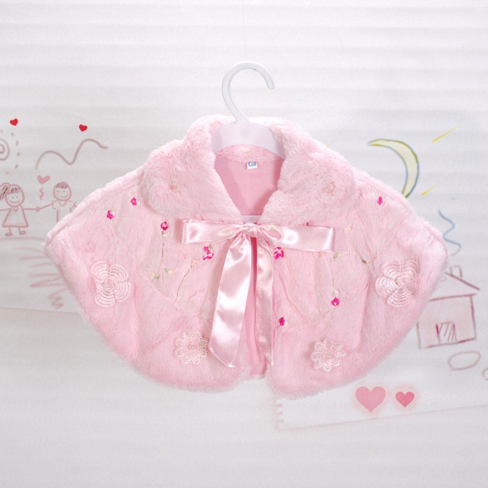 Faux Fur Bolero Poncho Shrug Ivory Pink 1-2 2-4 4-6 6-8 Years