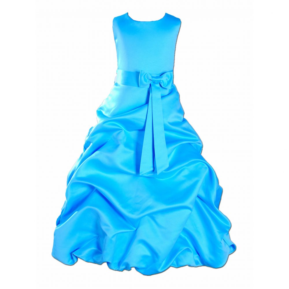 LIGHT BLUE SATIN FLOWER GIRL DRESS BRIDESMAID DRESS