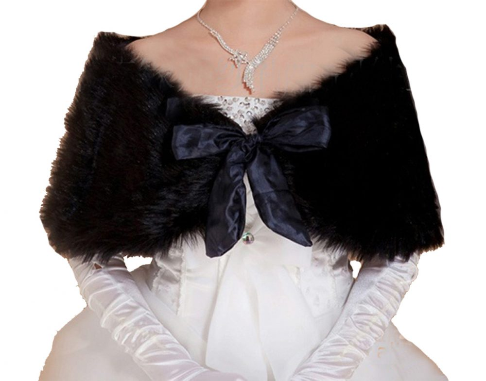 Bridal Black Faux Fur Bolero Shawl Shrug One Size