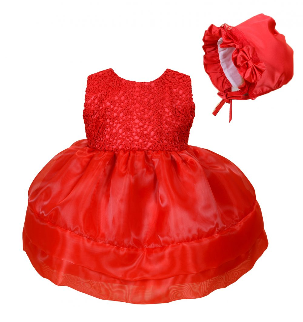 Baby Girls Party Dress and Bonnet Pink Red 0 3 6 12 18 24 Months