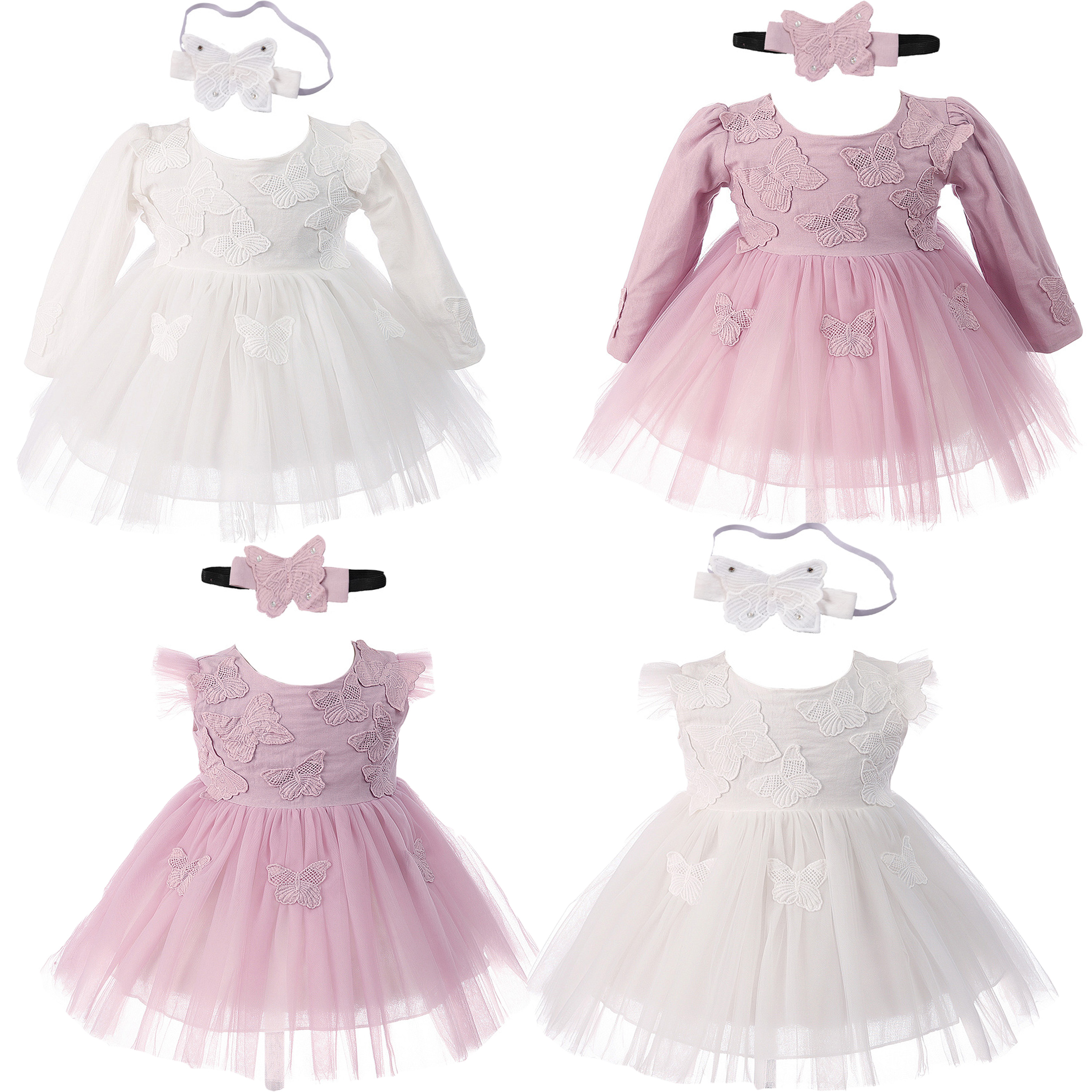 Butterfly Christening Party Dress and Headband 6-6 to 6-6 Months