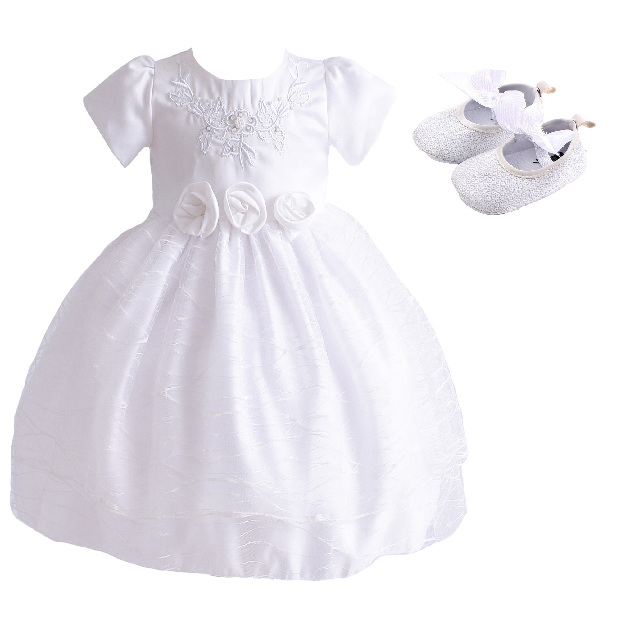 a6f5d3eadffa5 Baby Girls White Christening Dress and Shoes